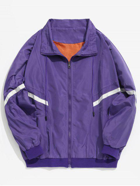 fashion Stripes Patch Loose Lightweight Jacket - PURPLE L Mobile