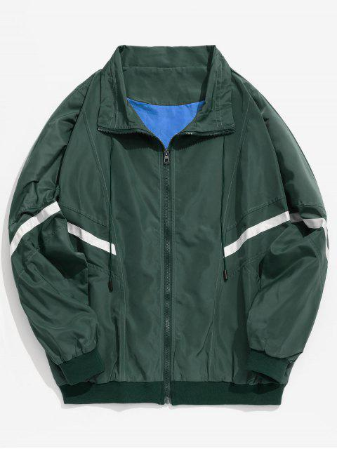 affordable Stripes Patch Loose Lightweight Jacket - DEEP GREEN S Mobile