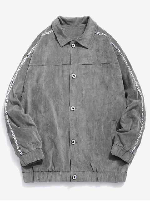 unique Side Striped Button Corduroy Jacket - GRAY XS Mobile
