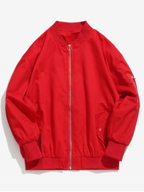 affordable Solid Pockets Design Bomber Jacket - RED 2XL Mobile