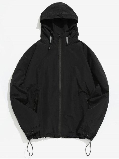 online Zipper Windbreak Hooded Jacket - BLACK L Mobile