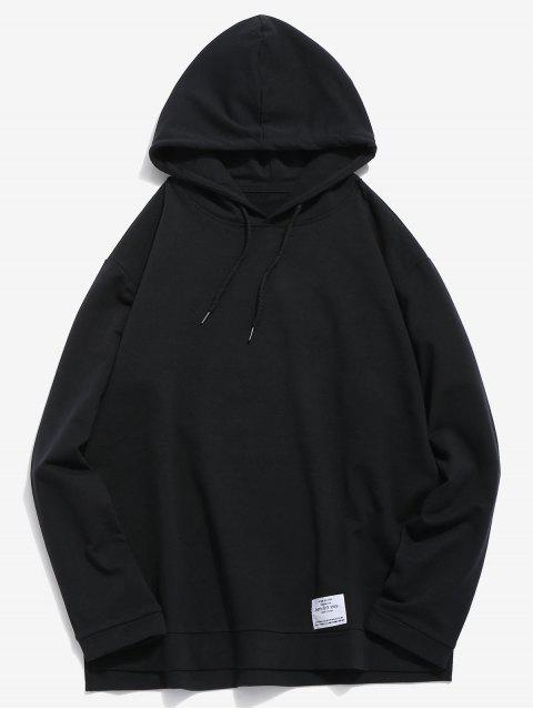 affordable Casual Split Hem Solid Hoodie - BLACK 2XL Mobile