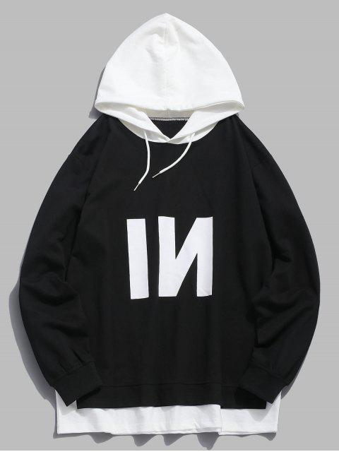 new Contrast Patch Edge Letter Hoodie - BLACK S Mobile