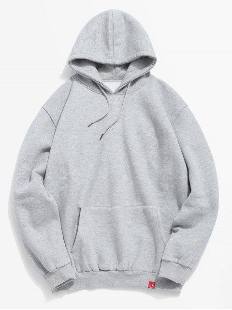 fancy Solid Pocket Soft Fleece Hoodie - LIGHT GRAY S Mobile