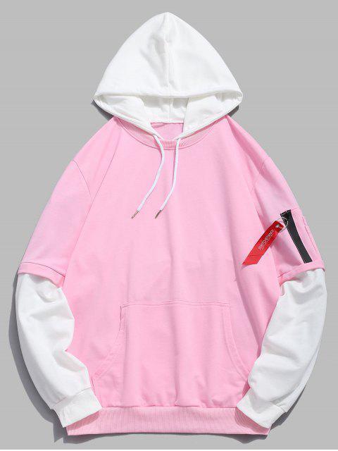 fashion Pockets Contrast False Two Piece Hoodie - LIGHT PINK M Mobile