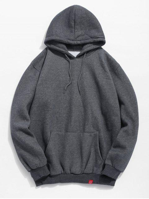 chic Solid Pocket Soft Fleece Hoodie - DARK GRAY XL Mobile
