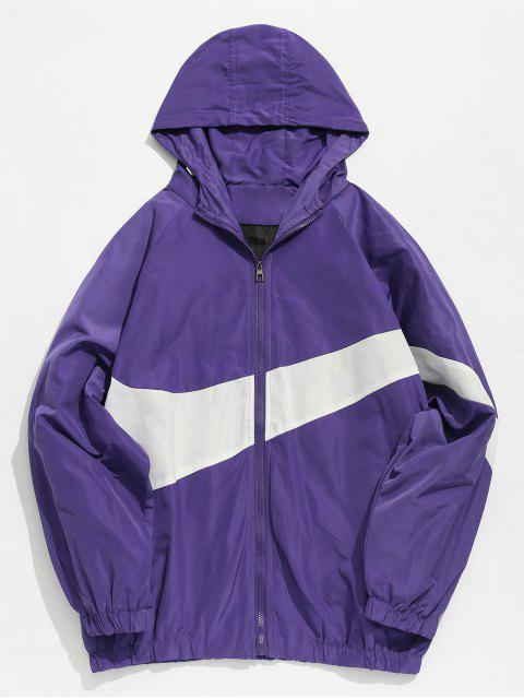 unique Contrast Casual Zipper Lightweight Jacket - PURPLE XL Mobile