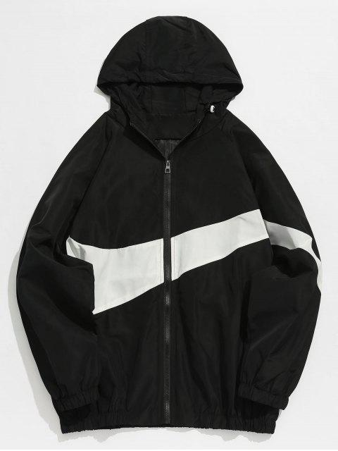 affordable Contrast Casual Zipper Lightweight Jacket - BLACK M Mobile