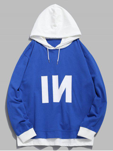 outfit Contrast Patch Edge Letter Hoodie - BLUE XS Mobile