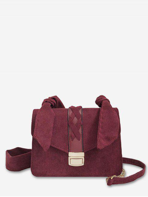 new Cross Corduroy Chain Crossbody Bag - RED WINE  Mobile