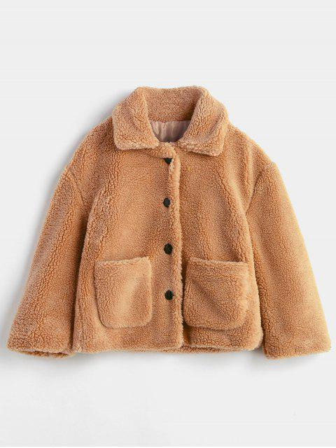 trendy Fluffy Patch Pockets Faux Fur Winer Coat - BROWN S Mobile