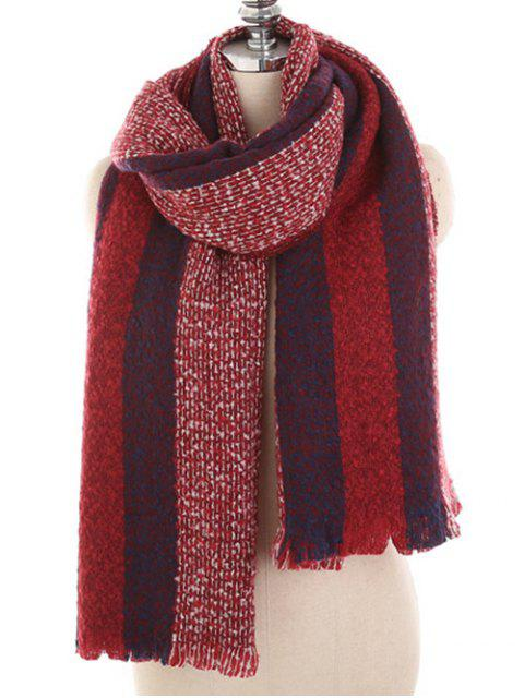 lady Winter Striped Thicken Long Scarf - RED WINE  Mobile