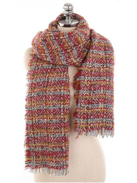 shops Elegant Plaid Fringed Warm Scarf - RED WINE  Mobile