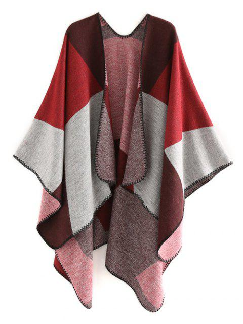 unique Color Splice Geometry Shawl Scarf - RED WINE  Mobile