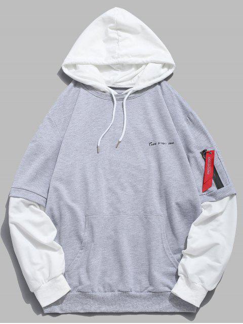 Buchstabe-Taschen falscher zweiteiliger Hoodie - Hellgrau M Mobile