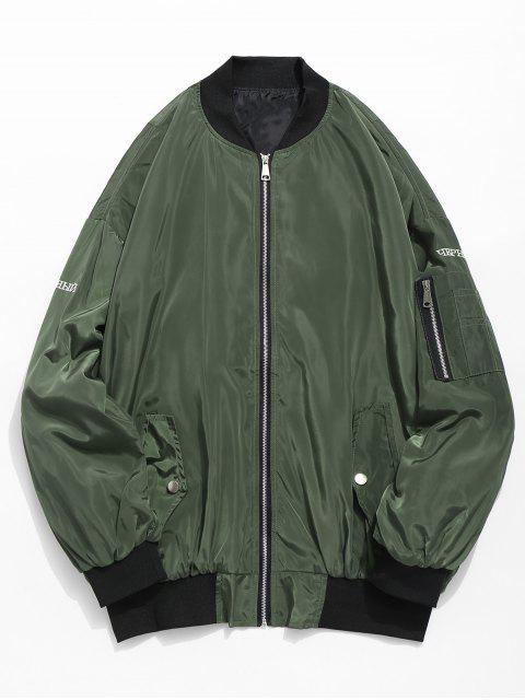 affordable Embroidered Graphic Pockets Bomber Jacket - ARMY GREEN 2XL Mobile
