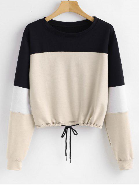 Sweat-shirt Pull-over en Blocs de Couleurs - Abricot L Mobile