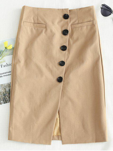 ladies Button Through Midi Skirt - CAMEL BROWN L Mobile