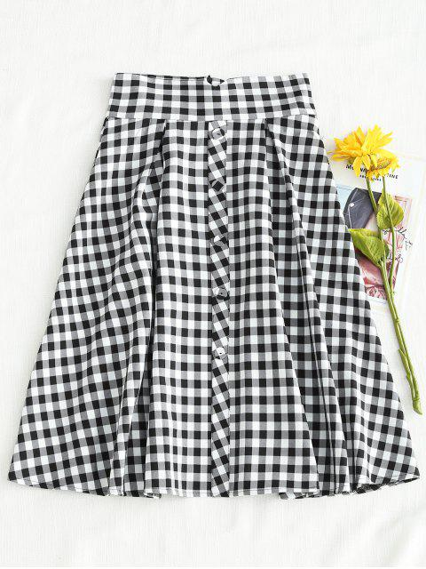 Gingham Box Pleats Full Midi Falda - Multicolor L Mobile
