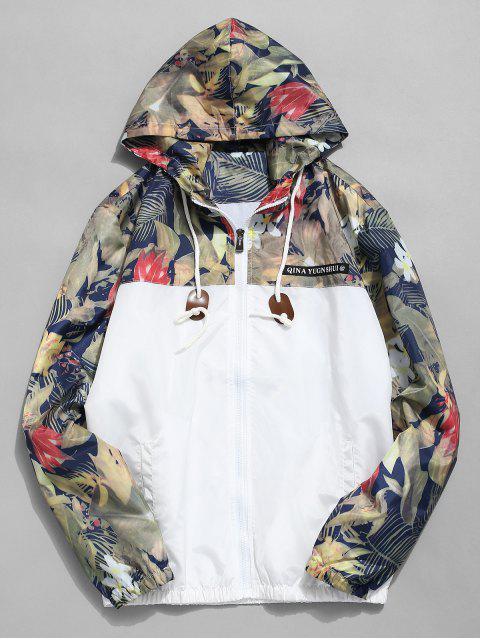 Veste à Capuche Patchwork Florale Imprimée - Blanc S Mobile