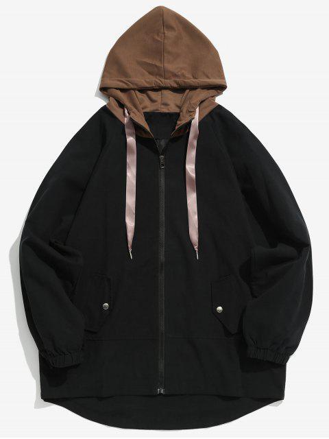 Manteau à Capuche Décontracté en Deux Couleurs - Noir L Mobile