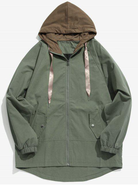 shops Two Tone Casual Hooded Coat - ARMY GREEN XS Mobile