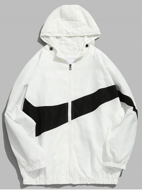 unique Contrast Casual Zipper Lightweight Jacket - WHITE XL Mobile