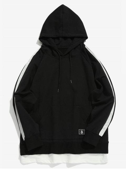 hot Double Hem Striped Contrast Hoodie - BLACK XL Mobile