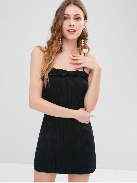 lady Rib Knit Cami Frilled Mini Dress - BLACK M Mobile