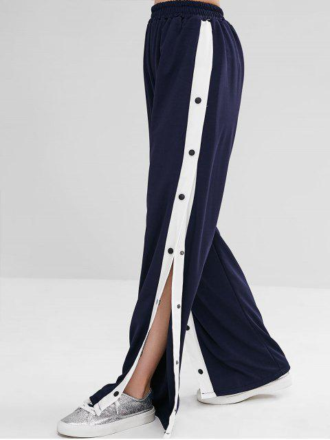 outfits Snap Button Wide Leg Pants - DARK SLATE BLUE S Mobile