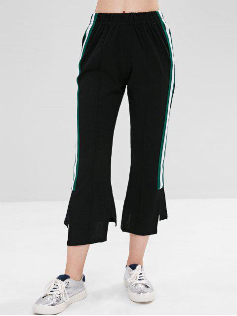 Pantalones de hendidura asimétrica en contraste - Negro L Mobile
