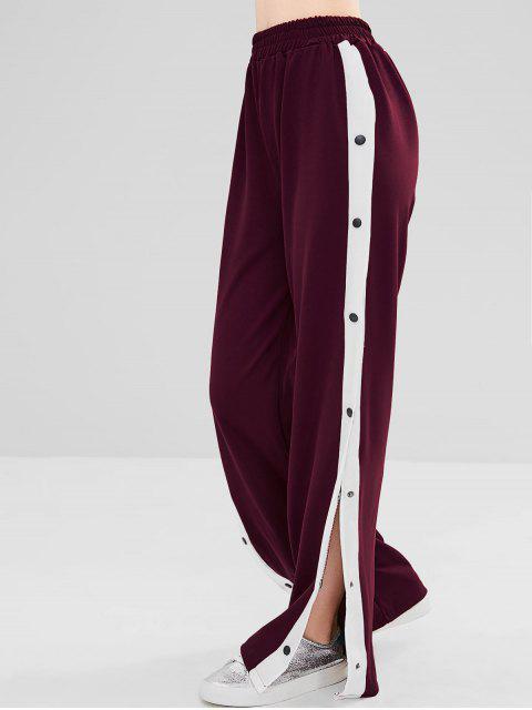 fashion Snap Button Wide Leg Pants - RED WINE M Mobile