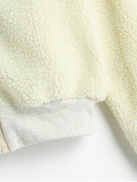 Manteau d'Hiver en Fausse Fourrure Zippé à Brodure Côtelée - Blanc Froid L Mobile