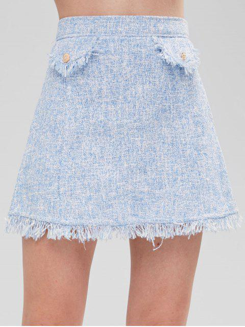 affordable Buttoned Flaps Tweed Mini Skirt - LIGHT BLUE L Mobile