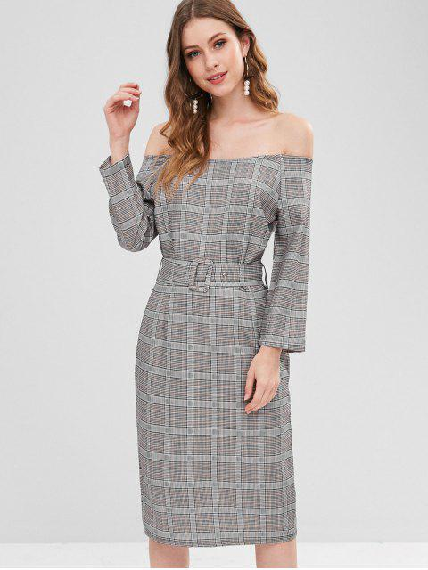 outfit Checked Off The Shoulder Midi Sheath Dress - MULTI S Mobile