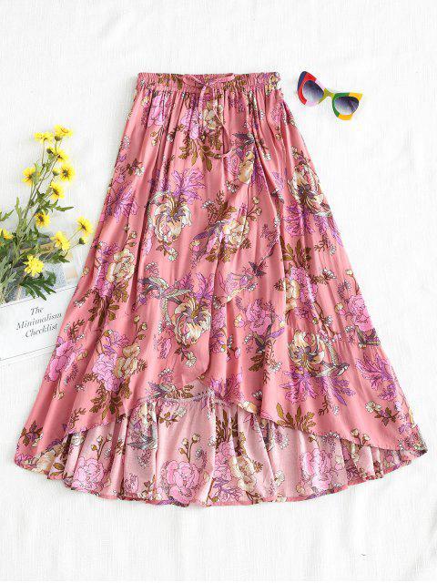Falda a media pierna floral - Rosado L Mobile