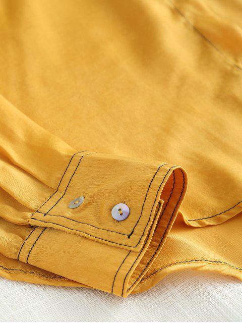 Bolsillos con solapa alta camisa baja - Marrón Dorado M Mobile
