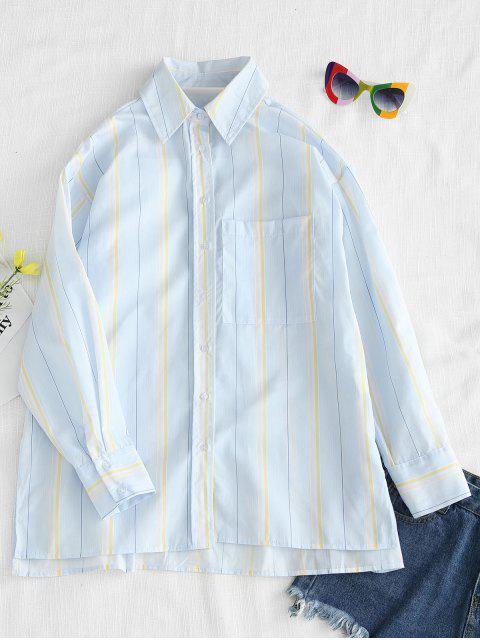 Camisa a rayas con abertura de bolsillo - Multicolor L Mobile