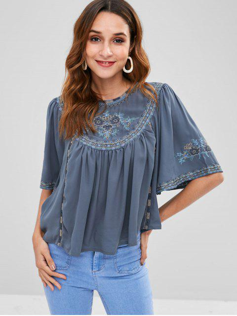 best Cape Sleeves Floral Swing Blouse - MIST BLUE L Mobile