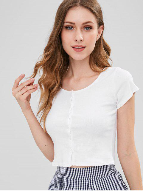 affordable Ribbed Button Up Crop Top - WHITE M Mobile