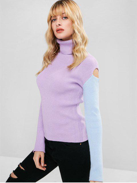 buy Two Tone Turtleneck Slim Sweater - PURPLE ONE SIZE Mobile