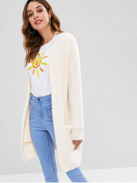 best Fuzzy Tunic Drop Shoulder Cardigan - WARM WHITE ONE SIZE Mobile