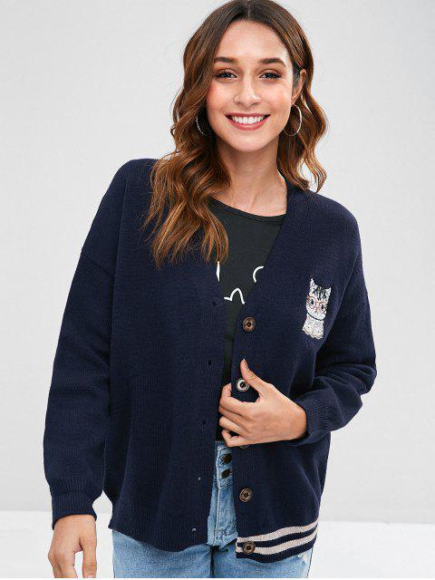 online Cat Embroidered Drop Shoulder Cardigan - NAVY BLUE ONE SIZE Mobile