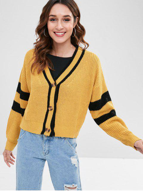 hot Striped Drop Shoulder Boxy Cardigan - MUSTARD M Mobile