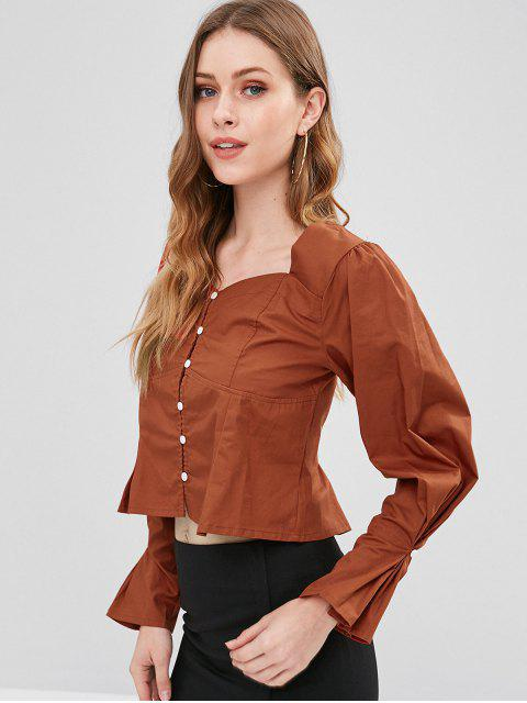 lady Sweetheart Neck Button Up Top - CHESTNUT RED M Mobile