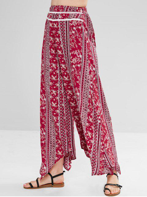 ZAFUL Floral Slit Palazzo Bohemian Pants - Multicolor M Mobile