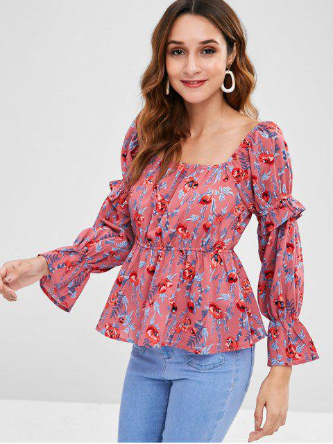 lady ZAFUL Floral Flare Sleeve Peplum Blouse - MULTI XL Mobile