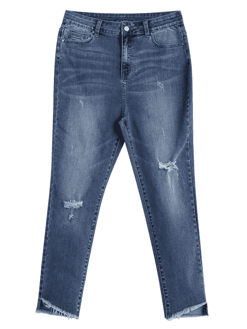 ZAFUL apenado de alta cintura Jeans mamá - Azul Denim S Mobile