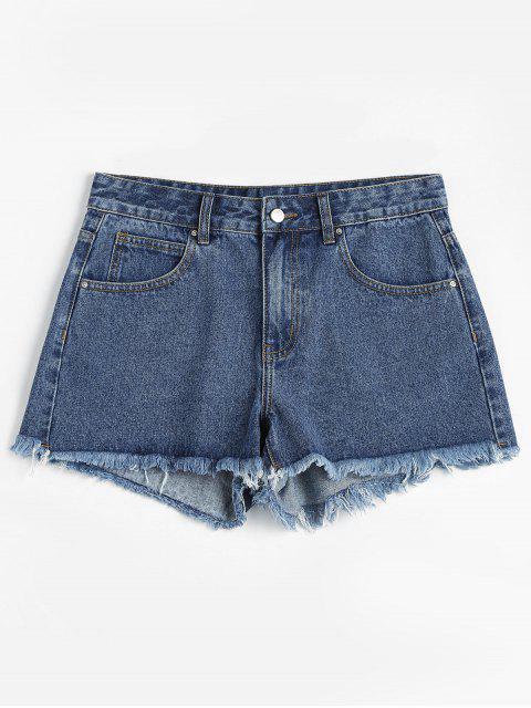 ZAFUL Frayed pantalones cortos de mezclilla - Azul M Mobile