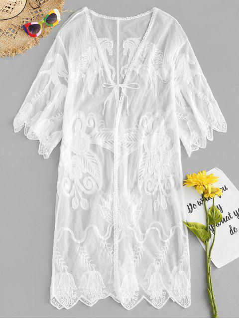 lady Kimono Embroidered Cover Up - WHITE ONE SIZE Mobile